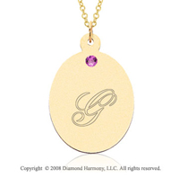 14k Yellow Gold June/ Alexandrite Oval Engraveable Pendant