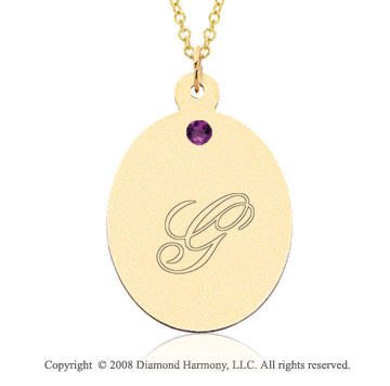 14k Yellow Gold February/ Amethyst Oval Engraveable Pendant
