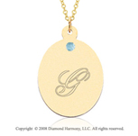 14k Yellow Gold March/ Aquamarine Oval Engraveable Pendant
