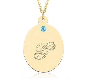 14k Yellow Gold December/ Bl Topaz Oval Engraveable Pendant
