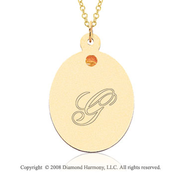 14k Yellow Gold November/ Citrine Oval Engraveable Pendant