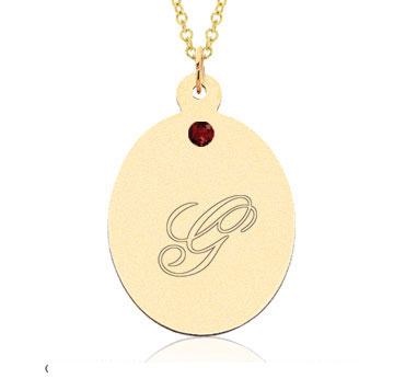 14k Yellow Gold January/ Garnet Oval Engraveable Pendant
