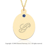 14k Yellow Gold September/ Sapphire Oval Engraveable Pendant
