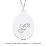 14k White Gold 1  Inch Oval Engraveable Pendant