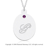 14k White Gold February/ Amethyst Oval Engraveable Pendant