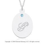 14k White Gold March/ Aquamarine Oval Engraveable Pendant