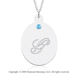 14k White Gold December/ Bl Topaz Oval Engraveable Pendant