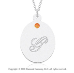 14k White Gold November/ Citrine Oval Engraveable Pendant