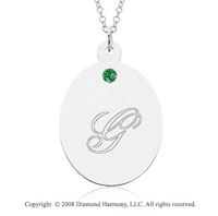 14k White Gold May/ Emerald Oval Engraveable Pendant