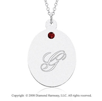 14k White Gold January/ Garnet Oval Engraveable Pendant