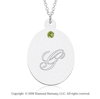 14k White Gold August/ Peridot Oval Engraveable Pendant
