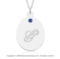 14k White Gold September/ Sapphire Oval Engraveable Pendant