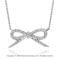 14k White Gold 1/4 Carat Diamond Ribbon Necklace
