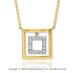14k Yellow Gold Square Diamond Necklace