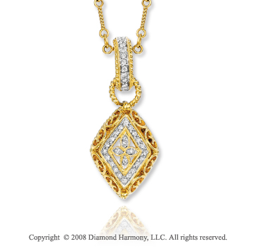 14k Yellow Gold Vintage Style Diamond Necklace