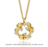 14k Yellow Gold Diamond Rose Bud Circle Necklace