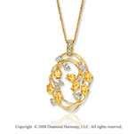 14k Yellow Gold 1/3 Carat Diamond Rose Bud Oval Necklace