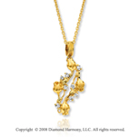 14k Yellow Gold Diamond Rose Bud Necklace