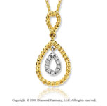 14k Yellow Gold Teardrop Diamond Necklace