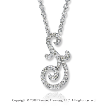 14k White Gold 1/4 Carat Diamond Deco Style Necklace