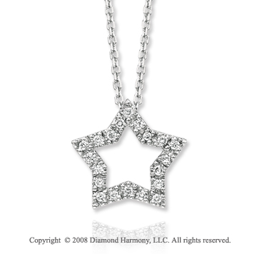 14k White Gold Star Diamond Necklace