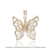 14k Yellow Gold Artistic Diamond Butterfly Necklace
