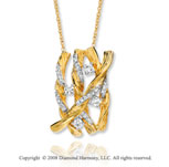14k Yellow Gold Finely Carved .40 Carat Diamond Necklace