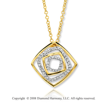 14k Yellow Gold Multi Squares 1/4 Carat Diamond Necklace