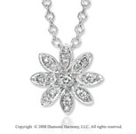 14k White Gold Beautiful Diamond Flower Necklace