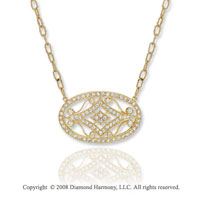 14k Yellow Gold Filigree 1.20 Carat Diamond Necklace
