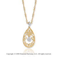 14k Yellow Gold Diamond Teardrop Filigree Necklace