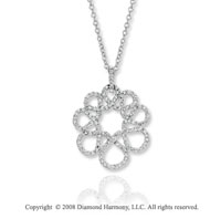 14k White Gold 1 Carat Diamond Flower Necklace