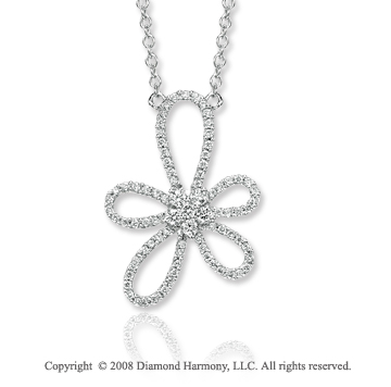 14k White Gold 1/2 Carat Diamond Abstra Carat Flower Necklace