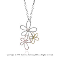 14k Tri Tone Stunning 1.80 Carat Diamond Flower Necklace
