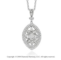 14k White Gold .60 Carat Diamond Filigree Necklace