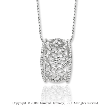 14k White Gold .70 Carat Diamond Filigree Barrel Necklace
