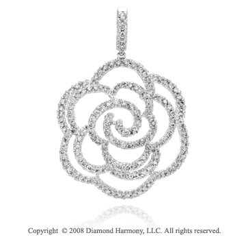 3 Carat Diamond 14k White Gold Rose Necklace