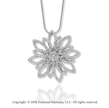1.70 Carat Diamond 14k White Gold Stunning Flower Necklace