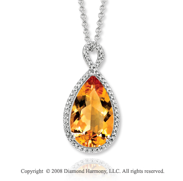 14k White Gold 1/3 Carat Diamond 8 1/2 Carat Pear Citrine Necklace