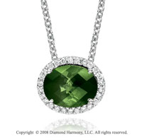 14k White Gold 2 3/4 Carat Green Topaz Diamond Necklace