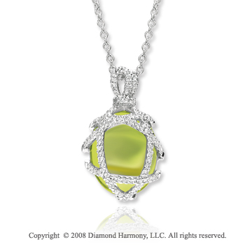14k White Gold Lime Quartz 1/2 Carat Diamond Necklace