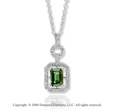14k White Gold 1 Carat Green Topaz Diamond Necklace