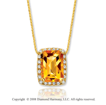 14k Yellow Gold 8 Carat Citrine 1/3 Carat Diamond Elegant Pendant