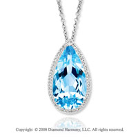 14k White Gold 1/3 Carat Diamond 20 Carat Blue Topaz Necklace