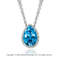14k White Gold 3.60 Carat Pear Shape Blue Topaz Diamond Necklace