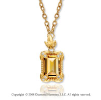 14k Yellow Gold 3.70 Carat Citrine Diamond Necklace