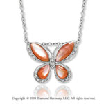 14k White Gold Mother of Pearl Diamond Butterfly Necklace