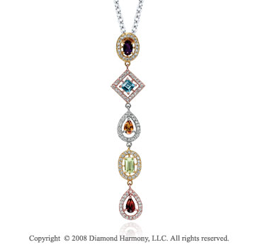 14k Tri Tone Gold  Multi Gemstone 1/2 Carat Diamond Necklace