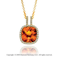 14k Yellow Gold 5 Carat Citrine 1/4 Carat Diamond Necklace