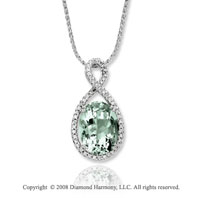 14k White Gold 4.80 Carat Green Amethyst Diamond Necklace